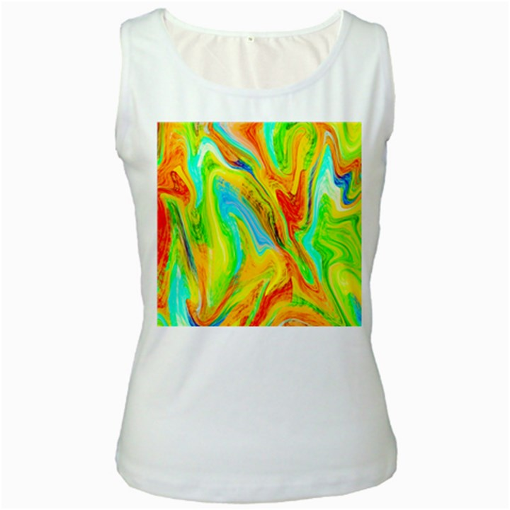 Happy Multicolor Painting Women s White Tank Top