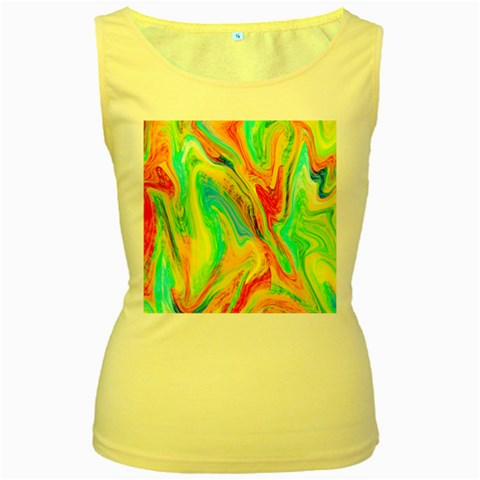 Happy Multicolor Painting Women s Yellow Tank Top