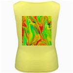 Happy Multicolor Painting Women s Yellow Tank Top Back