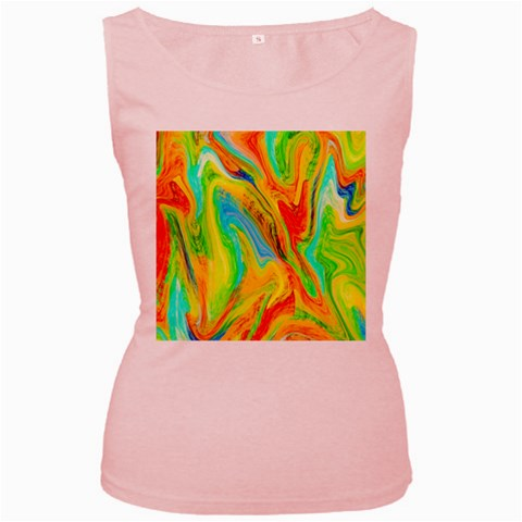 Happy Multicolor Painting Women s Pink Tank Top