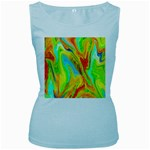 Happy Multicolor Painting Women s Baby Blue Tank Top Front