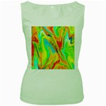 Happy Multicolor Painting Women s Green Tank Top Front
