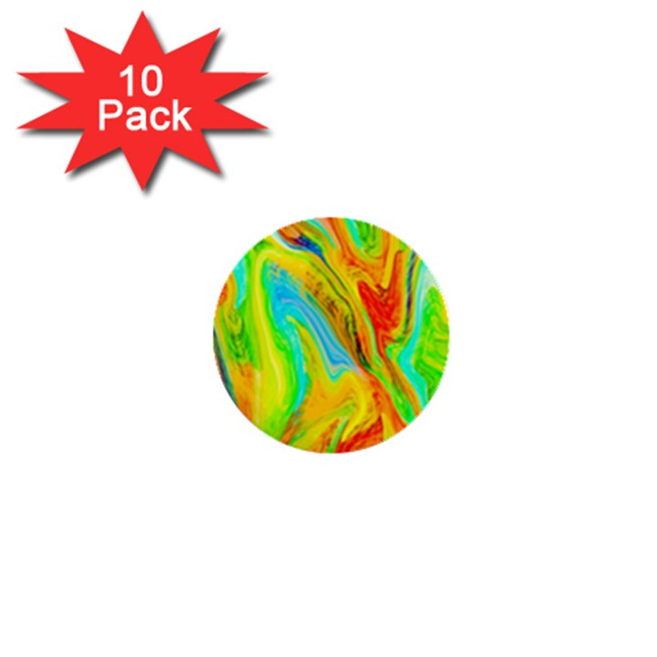 Happy Multicolor Painting 1  Mini Buttons (10 pack)
