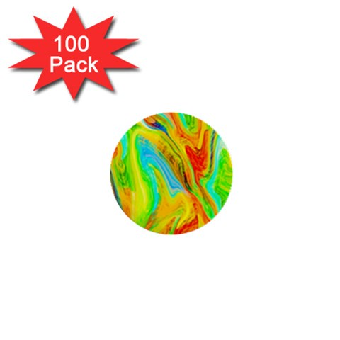 Happy Multicolor Painting 1  Mini Buttons (100 pack)