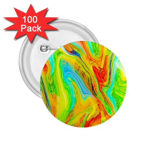 Happy Multicolor Painting 2.25  Buttons (100 pack)