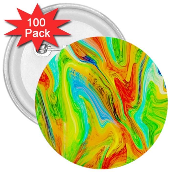 Happy Multicolor Painting 3  Buttons (100 pack)