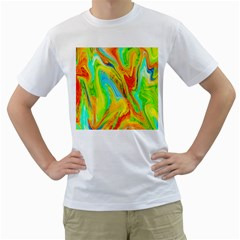 Happy Multicolor Painting Men s T Shirt (white) (two Sided)