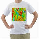 Happy Multicolor Painting Men s T-Shirt (White) (Two Sided) Front
