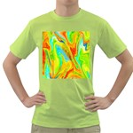 Happy Multicolor Painting Green T-Shirt Front