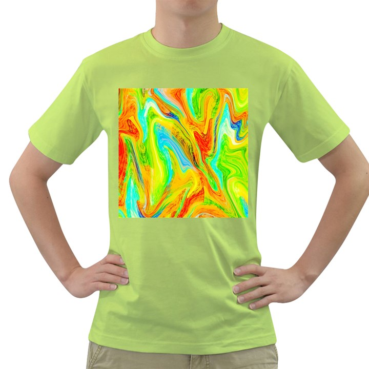 Happy Multicolor Painting Green T-Shirt