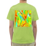 Happy Multicolor Painting Green T-Shirt Back