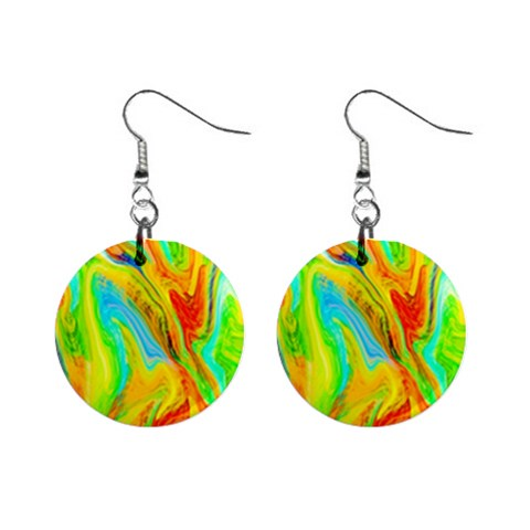 Happy Multicolor Painting Mini Button Earrings