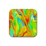 Happy Multicolor Painting Rubber Square Coaster (4 pack)  Front