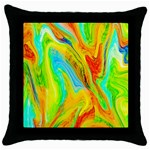 Happy Multicolor Painting Throw Pillow Case (Black) Front