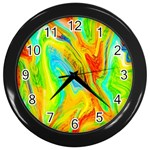 Happy Multicolor Painting Wall Clocks (Black) Front