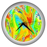 Happy Multicolor Painting Wall Clocks (Silver)  Front