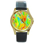 Happy Multicolor Painting Round Gold Metal Watch Front