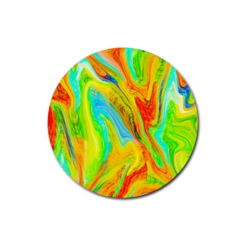 Happy Multicolor Painting Rubber Round Coaster (4 pack)
