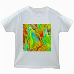 Happy Multicolor Painting Kids White T Shirts