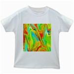 Happy Multicolor Painting Kids White T-Shirts Front