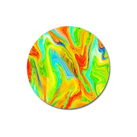 Happy Multicolor Painting Magnet 3  (Round)