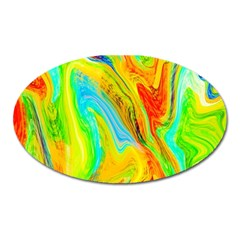 Happy Multicolor Painting Oval Magnet