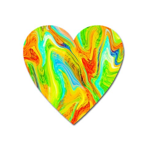 Happy Multicolor Painting Heart Magnet