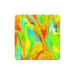 Happy Multicolor Painting Square Magnet Front