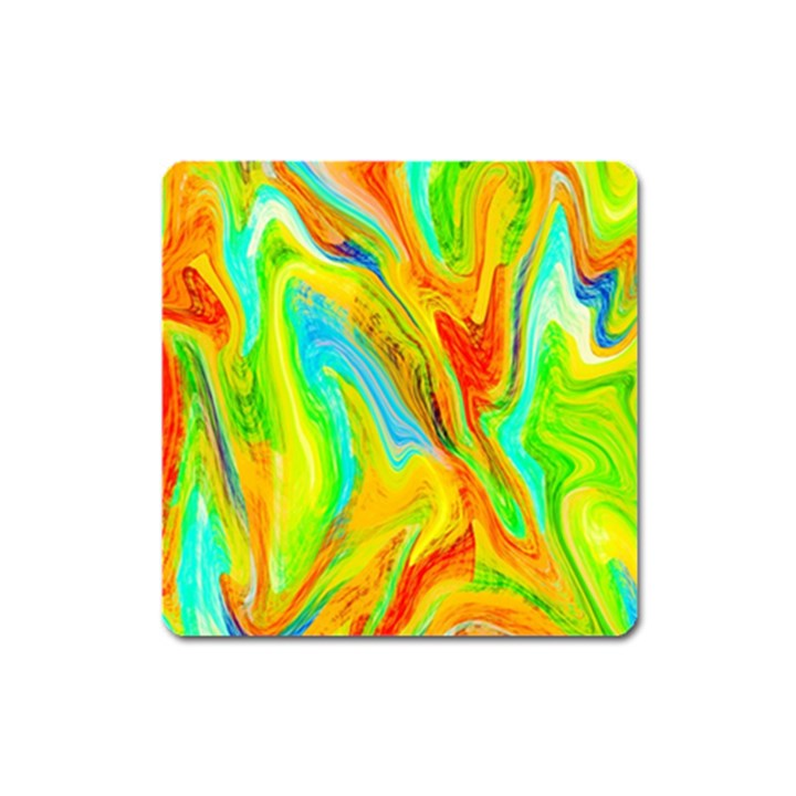 Happy Multicolor Painting Square Magnet