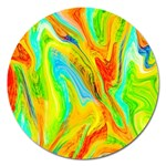 Happy Multicolor Painting Magnet 5  (Round) Front