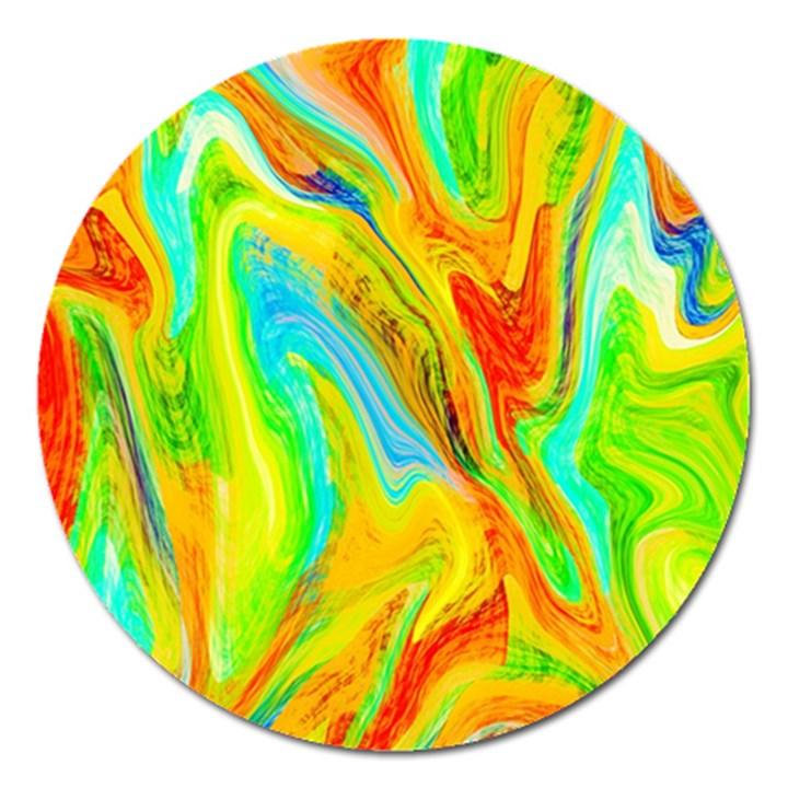Happy Multicolor Painting Magnet 5  (Round)