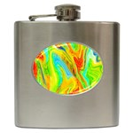 Happy Multicolor Painting Hip Flask (6 oz) Front