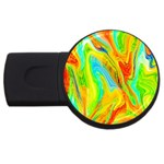 Happy Multicolor Painting USB Flash Drive Round (1 GB)  Front