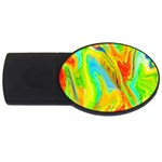 Happy Multicolor Painting USB Flash Drive Oval (2 GB)  Front