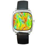 Happy Multicolor Painting Square Metal Watch Front