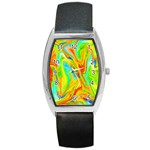 Happy Multicolor Painting Barrel Style Metal Watch Front