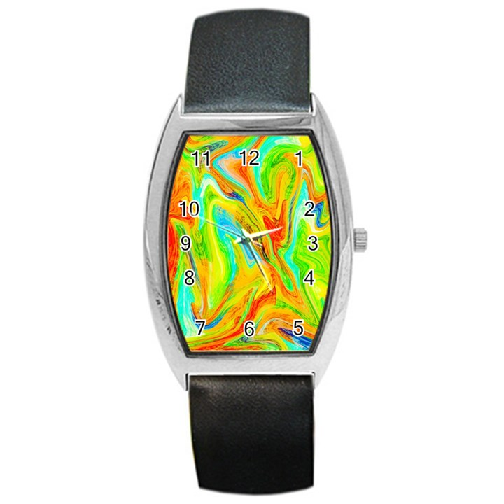 Happy Multicolor Painting Barrel Style Metal Watch