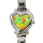 Happy Multicolor Painting Heart Italian Charm Watch Front