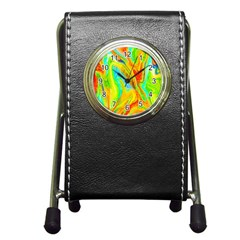 Happy Multicolor Painting Pen Holder Desk Clocks