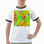 Happy Multicolor Painting Ringer T-Shirts Front