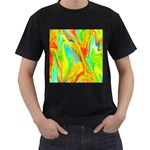 Happy Multicolor Painting Men s T-Shirt (Black) (Two Sided) Front