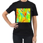 Happy Multicolor Painting Women s T-Shirt (Black) (Two Sided) Front