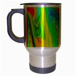 Happy Multicolor Painting Travel Mug (Silver Gray) Left
