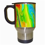 Happy Multicolor Painting Travel Mugs (White) Left