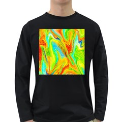 Happy Multicolor Painting Long Sleeve Dark T Shirts