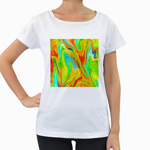 Happy Multicolor Painting Women s Loose-Fit T-Shirt (White)