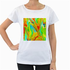 Happy Multicolor Painting Women s Loose Fit T Shirt (white)