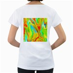Happy Multicolor Painting Women s Loose-Fit T-Shirt (White) Back