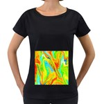 Happy Multicolor Painting Women s Loose-Fit T-Shirt (Black) Front