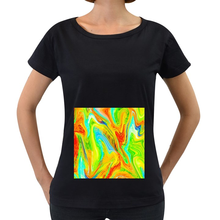 Happy Multicolor Painting Women s Loose-Fit T-Shirt (Black)